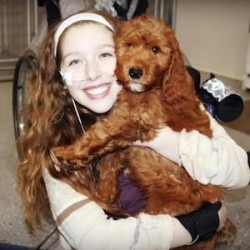 Sydney Rohmann and her service dog Dutch. Rohmann is hosting a fundraiser at Alpine Lanes Saturday April 17, to help with the expenses associated with a service dog.